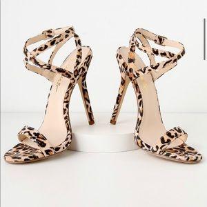 Lulu's leopard print strappy heels